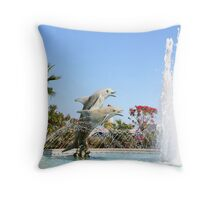 Dolphin Fountain Throw Pillow