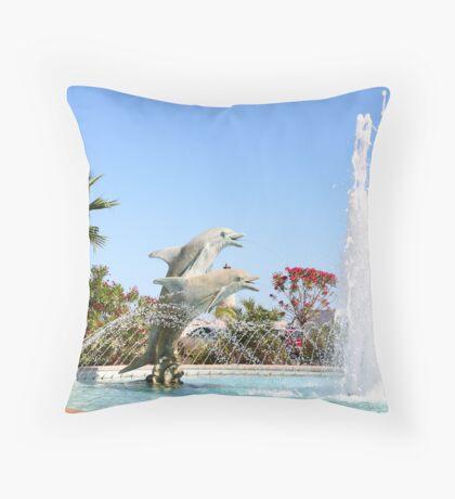 Dolphin Fountain Throw Pillow