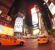 Times square cabs by Mark Walker