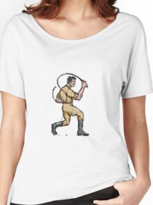 Lion Tamer Bullwhip Isolated Drawing Women's Relaxed Fit T-Shirt