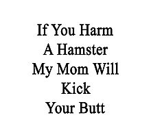 If You Harm A Hamster My Mom Will Kick Your Butt Photographic Print