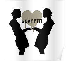 Graffiti Love (Black on White) Poster