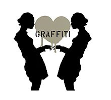 Graffiti Love (Black on White) Photographic Print