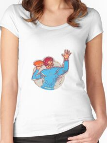 American Football Quarterback Throwing Ball Drawing Women's Fitted Scoop T-Shirt