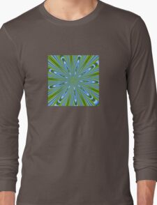 Star Burst in Lime and Blue Abstract Kaleidoscope Long Sleeve T-Shirt