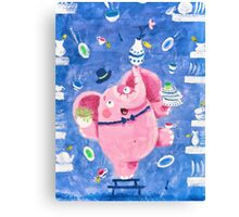 Elephant in a porcelain shop - Clumsy Rondy the Elephant Canvas Print
