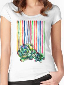 Rainbow Succulents Women's Fitted Scoop T-Shirt