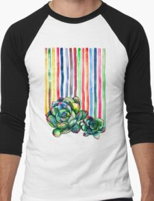 Rainbow Succulents Men's Baseball ¾ T-Shirt