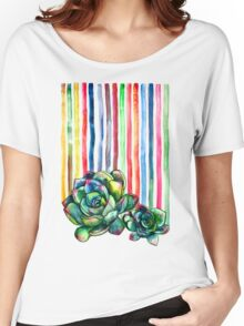 Rainbow Succulents Women's Relaxed Fit T-Shirt