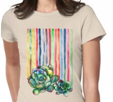 Rainbow Succulents Womens Fitted T-Shirt