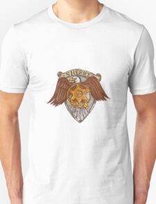 Sheriff Badge American Eagle Shield Drawing T-Shirt