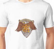 Sheriff Badge American Eagle Shield Drawing Unisex T-Shirt