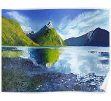Mitre Peak on Milford Sound in New Zealand Poster