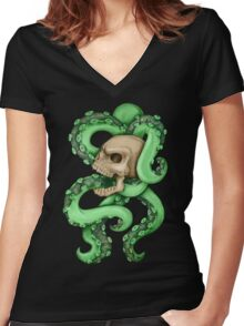 Skull with Neon Tentacles Women's Fitted V-Neck T-Shirt