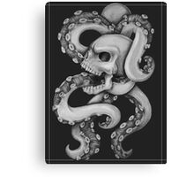 Skull with Tentacles - Black and White Canvas Print