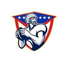 American Football Quarterback Throw Ball by patrimonio