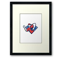 Baseball Pitcher Throwing Ball Retro Framed Print