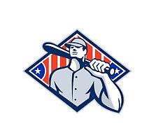 Baseball Batter Hitter Bat Shoulder Retro by patrimonio