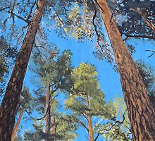 Pine Landscape with Azure Sky Gouache Painting by Susan  Wellington
