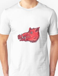 Wild Boar Razorback Head Side Drawing T-Shirt