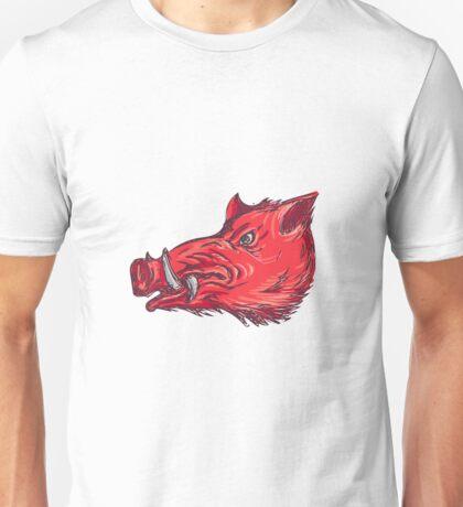 Wild Boar Razorback Head Side Drawing Unisex T-Shirt