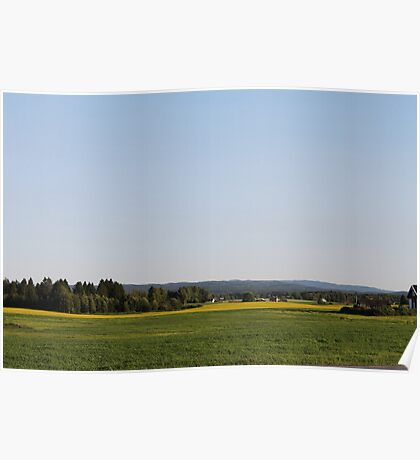 Just a late summer landscape. Farmland. Afternoon. Løten, Norway. Poster