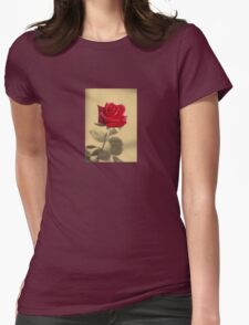 Red Rose Flower Isolated on Sepia Background T-Shirt