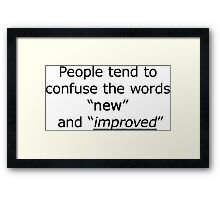 Television - the words 'new' and 'improved' Framed Print