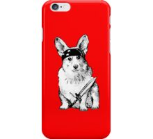 BAD dog – corgi carrying a knife iPhone Case/Skin