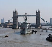 HMS Belfast and Tower Bridge - London by corrado