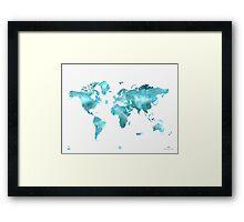 World map eco stream green Framed Print
