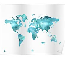 World map eco stream green Poster