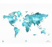 World map eco stream green Photographic Print
