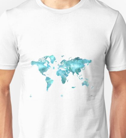World map eco stream green Unisex T-Shirt