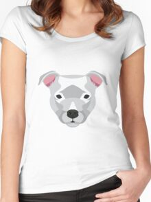 White Staffordshire Bull Terrier Women's Fitted Scoop T-Shirt