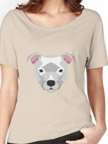 White Staffordshire Bull Terrier Women's Relaxed Fit T-Shirt
