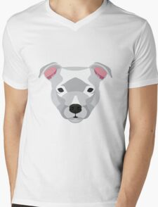 White Staffordshire Bull Terrier Mens V-Neck T-Shirt