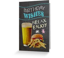 Trendy Chalk Board Effect, With Beer Burger And Fries Greeting Card