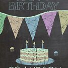 Grandson Trendy Chalk Board Effect Birthday Greeting by Moonlake