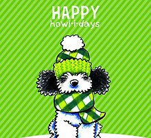 Parti Poodle Plaid Scarf Happy Howl-i-days by offleashart