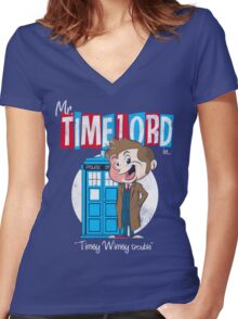 Timey Wimey trouble Women's Fitted V-Neck T-Shirt