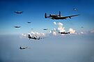 Spitfires escorting Lancasters by Gary Eason