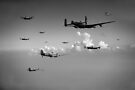 Spitfires escorting Lancasters black and white version by Gary Eason