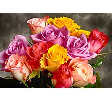 Beautiful Bouquet Of Multicolor Roses Photographic Print
