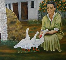 Woman With Geese by Prokop