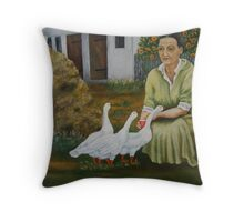 Woman With Geese Throw Pillow