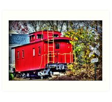 Red Caboose HDR Art Print