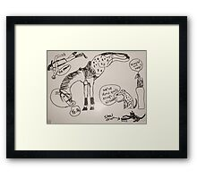 Dogs, a horse and a cat Framed Print