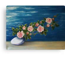Roses On Stone Canvas Print