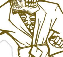 Fighting skull cartoon t shirt  Sticker